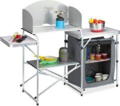 Grijze Relaxdays campingkeuken opvouwbaar - campingkast - kampeerkeuken - camping keukenkast
