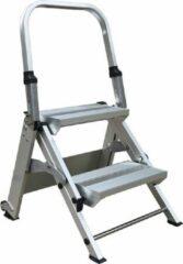 Zilveren AL Ladder, Werkbordes 2 treden met beugel, Veiligheidsvouwtrap