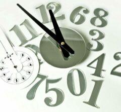 Zilveren Mix&Match Wandklok met spiegeleffect zelfklevend horloge murale