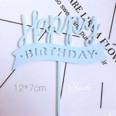 Cake Manor Happy Birthday Taarttopper - Banner Baby Blauw