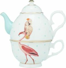 Turquoise Yvonne Ellen - Animals Serie - Tea For One - Flamingo & Parrot in giftbox - Porselein