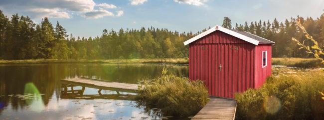 Afbeelding van Rode Blokhut Zweeds huis Gr. 3 277 x 286cm rood/wit