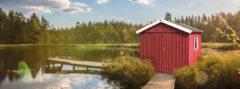 Rode Blokhut Zweeds huis Gr. 3 277 x 286cm rood/wit