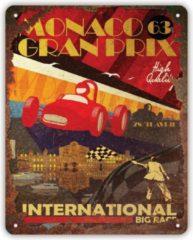 HAES deco - Retro Metalen Muurdecoratie - Gran Prix Monaco '63 - Deco Vintage-Decoratie - 20 x 25 x 0,3 cm - WD086