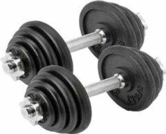 Zwarte Dumbbell set Focus Fitness - Totaal: 30 kg - 2 stuks van 15 kg