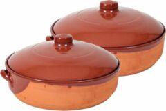 Merkloos / Sans marque 2x Stenen ovenschalen met deksel bruin/ terracotta 28 cm - Terracotta ovenschalen/braadpannen