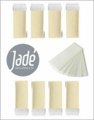 Creme witte Jadé Depilazione & Co Jadé stripwax harspatroon 8 x 100 ml met brede roller plus 50 strips - harsvullingen - wax refills - wax roll on - voordeelbox voor de man