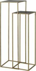Gouden Furnings Light & Living Bijzettafel S/2 max 35x35x120 cm BOCA mat zwart wash-goud