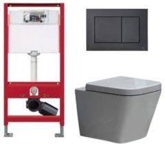 Douche Concurrent Tece Toiletset - Inbouw WC Hangtoilet wandcloset - Alexandria Tece Now Glans Zwart