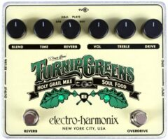 Groene Electro Harmonix Turnip Greens overdrive en reverb effectpedaal