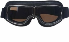 CRG Zwart leren cruiser motorbril donker glas