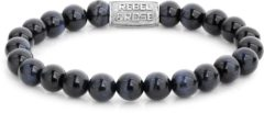 Rebel & Rose Rebel and Rose RR-80039-S Rekarmband Beads Tiger Blues zilverkleurig-blauw-zwart 8 mm L 19 cm