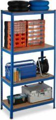 Blauwe Relaxdays Stellingkast metaal - 1060 kg draaglast - opbergrek 4 etages - legbordstelling