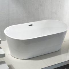 SanitairZone Aloni Rondo Vrijstaand Ligbad 180x80x60cm Acryl Met Afvoer Wit