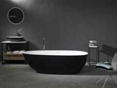 Mawialux vrijstaand bad | Solid surface | 185x85cm | Wit - zwart | ML-108-VBMG-WZ