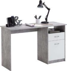 Grijze FMD Bureau met 1 lade 123x50x76,5 cm betonkleurig en wit