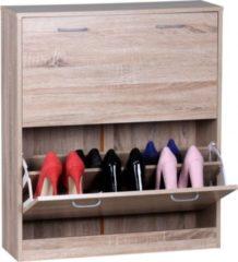 Wohnling Schuhkipper SARAH Sonoma-Eiche matt 2 Fächer 75 x 87 x 24 cm Design Holz-Schuhschrank zum klappen Schuhkommode modern mit Ablage