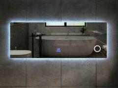 Mawialux LED spiegel   180cm   Rechthoek   Verwarming   Digitale klok   Bluetooth   ML-180NMF