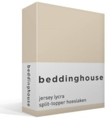 Naturelkleurige Beddinghouse Jersey Lycra Split Topper Hoeslaken - Tweepersoons - 160x200/220 cm - Naturel