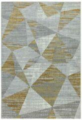 Eazy Living Easy Living - Orion-or012-Block-Yellow Vloerkleed - 160x230 cm - Rechthoekig - Laagpolig Tapijt - Modern, Retro - Geel, Grijs