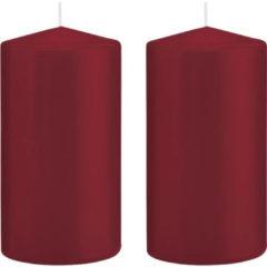 Merkloos / Sans marque 2x Bordeauxrode cilinderkaarsen/stompkaarsen 8 x 15 cm 69 branduren - Geurloze kaarsen – Woondecoraties