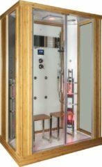 Sanexo Astera Rustica Infrarood Stoomcabine 2 Persoons 90x145x215 cm Sauna met mengkraan regendouche massagejets LED-verlichting Bluetooth