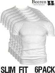 Witte Beeren | T-Shirt | Ronde Hals | MAAT L | 6-Pack | Wit | Slim Fit