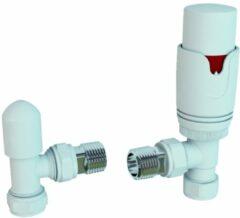 Eastbrook Thermostatische designradiatorkraan met afsluiter in mat wit met hoekaansluiting