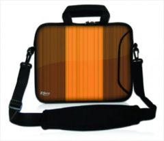 Bruine False Sleevy 15,6 laptoptas houten design - laptophoes voorvak - laptop sleeve - smalle laptoptas - reistas - schoudertas - schooltas - heren dames tas - tas laptop
