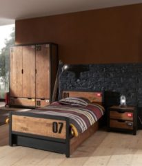 Vipack Furniture Vipack Set Alex best. aus Nachtkonsole, Einzelbett 90x200, Bettschublade, Kleiderschrank 3-trg. Kiefer gebürstet
