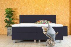 PITT Boxspring Vlegel 140x200 cm - Zwart stof - Geveerde box - Pocketvering matras - HR topper 5cm