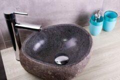 Saniclear riviersteen waskom set incl. hoge kraan chroom
