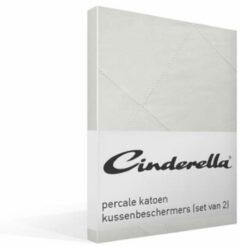 Cinderella Hoofdkussenbeschermer (Set Van 2) - Buitenkant: 100% Percale Katoen, Binnenkant: 100% Polyester - 60x70 - Wit