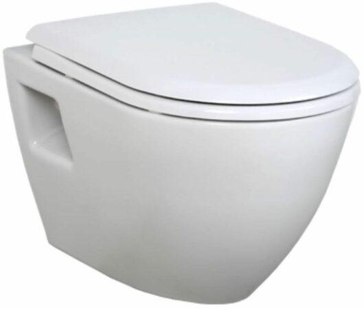 Afbeelding van Douche Concurrent Toiletpot Hangend DC00325 49,5x35,5x33,5cm Wandcloset Keramiek Diepspoel Nano Coating EasyClean Glans Wit met Softclose Toiletbril