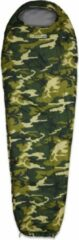Donkergroene Lumaland Where Tomorrow outdoor slaapzak | Klein en zacht | 220 x 80 cm x 50 cm, inclusief opbergzak |ingepakt 26 x 14 cm | 700g | camouflage groen