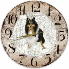 Bruine Creatief Art Houten Klok - 30cm - Hond - Schotse Herdershond