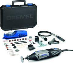 """Grijze """"Dremel 4000 Multitool - Roterend - 175 Watt - Inclusief 65 accessoires, 4 hulpstukken en premium opbergkoffer met machinehouder"""""""
