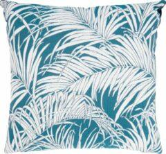 Donkerblauwe Pt, (Present Time) Jacquard Leaves - Kussen - fluweel - 45x45cm - blauw