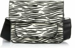 Yoonz jewellery and more Yoonz - crossbody bag - flap met magneetsluiting en ritssluiting - zebra print - zwart / wit - afneembaar en verstelbaar hengsel - kunstleer