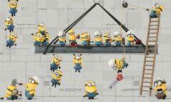 Grijze Stickerbehang Minions RoomMates 91x152 cm