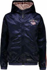 Marineblauwe Moodstreet Meisjes jas in satijnlook met contrast baan op de mouw - Navy - Maat 98