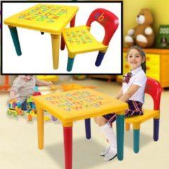 Decopatent® ABC Alfabet Kindertafel met Stoel - Speeltafel - Kindertafel en stoeltjes - 1x Tafel en 1x Stoel voor kinderen
