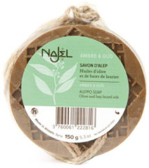 Zwarte Najel Aleppo Amber/Oud Aroma Douche kruidenzeep aan koord (150 gram)