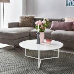 Wohnling Design Couchtisch MDF Holz weiß matt Gestell Metall 80 cm Wohnzimmertisch lackiert Sofatisch modern Kaffeetisch rund Loungetisch