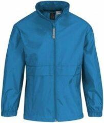 Bc Regenkleding voor jongens/meisjes aquablauw - Sirocco windjas/regenjas voor kinderen 9-11 jaar (134/146) aqua