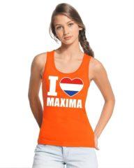 Bellatio Decorations Oranje I love Maxima tanktop shirt/ singlet dames - Oranje Koningsdag/ Holland supporter kleding L