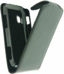 Zwarte Xccess Leather Flip Case Samsung Galaxy Fit S5670 Black