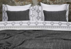 Fissaggio Bohemian Embroidery - Dekbedovertrek - 260 x 220/240 cm - Wit / Grijs