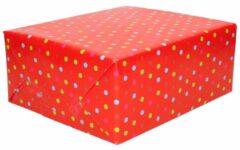 Duni 3x Inpakpapier / cadeaupapier rood met gekleurde stippen 200 x 70 cm - Cadeauverpakking kadopapier