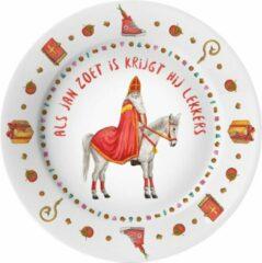 Rode Mies To Go Gepersonaliseerd kunststof eetbordje - sinterklaas - schoencadeau - kind - sint decoratie - 5 december - handgeschilderd door Mies - aquarel